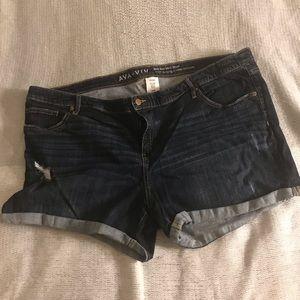 Lightly destructed denim short shorts